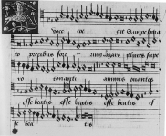 motets-and-chansons-music-book-showing-a-falcon-pecking-a-pomegranate