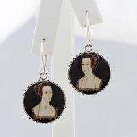 Anne Boleyn Portrait Round Drop Earrings