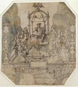 Apollo and the Muses on Parnassus by Hans Holbein the Younger - A design for a montage for the coronation procession.