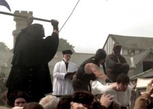 A still of Culpeper's execution from The Tudors series.