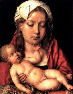 Michael Sittow's Virgin and Child. The woman appears to have been modelled on Catherine of Aragon.