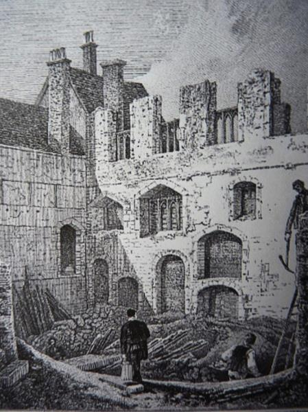Drawing of 1796 showing what was left of the Abbey of the Minoresses, or Poor Clares, north of the Tower after a huge fire; it was here in a forgotten vault that demolition workers found Anne Mowbray's body in 1964.