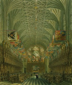 The Quire of St George's Chapel by Charles Wild, 1818