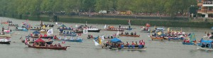 The 2012 Thames Diamond Jubilee Pageant in honour of Queen Elizabeth II - perhaps Anne's procession looked something like this.