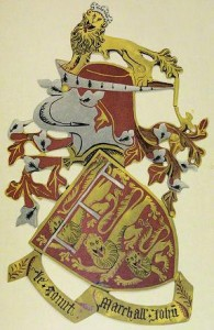 Garter stall plate of John Mowbray, 2nd Duke of Norfolk, Anne Mowbray's great-grandfather, shows John claimed royal descent and was Earl Marshal of England – a position still held by the present Dukes of Norfolk, descendants of his sister Margaret's son, John Howard. St George's Chapel, Windsor (Plate XXX from W H St John Hope: The Stall Plates of the Knights of the Order of the Garter 1348-1485).