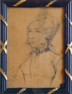 A drawing of a more mature Katherine by George Vertue (1684- 1756), now at Sudeley Castle. The legend on the reverse reads 'Catherine Willoughby Duchess of Suffolk, fourth wife of Charles Brandon, copied by Vertue from the original by Holbein at Kensington'. Image courtesy of Sudeley Castle.