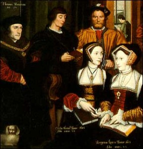 Thomas More (first on the left) and Mararet Roper (front right)