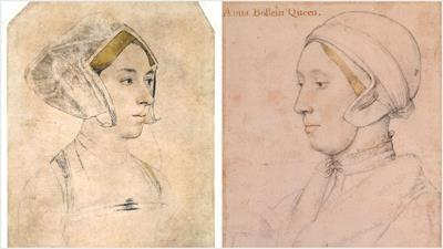 Sketches by Holbein of an unknown woman some believe to be Anne Boleyn*